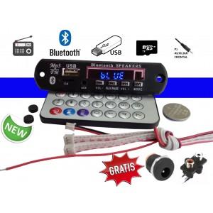 Placa Leitor De Usb Mp3 / Fm / Bluetooth / Controle Remoto / RCA e P4 + Cabo de brinde