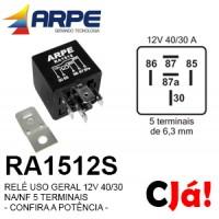 RA1512S RELE 12V 40/30 NA/NF 5 TERMINAIS
