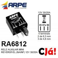 RA6812 RELE AUXILIAR MINI REVERSÍVEL (NA/NF) 12V 30/20A