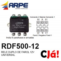 RDF500-12 RELE DUPLO DE FAROL 12V UNIVERSAL