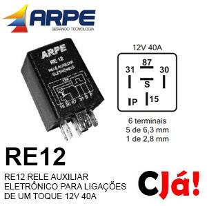 RE12 RELE AUXILIAR ELETRÔNICO PARA LIGAÇÕES DE UM TOQUE 12V 40A