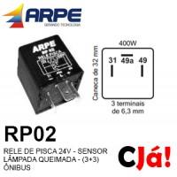 RP02 RELE DE PISCA 24V - SENSOR LÂMPADA QUEIMADA - (3+3) ÔNIBUS