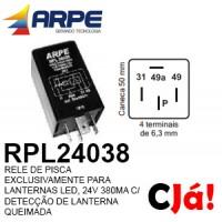 RPL24038 RELE DE PISCA EXCLUSIVAMENTE PARA LANTERNAS LED, 24V 380MA C/ DETECÇÃO DE LANTERNA QUEIMADA